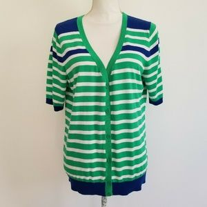 Talbots Green White Striped SS Cardigan